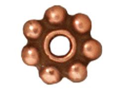 100 - TierraCast Antique Copper Plated 5mm Beaded Daisy Pewter Heishi Spacer Bead