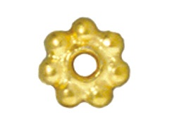 100 - TierraCast Bright Gold Plated 5mm Beaded Daisy Pewter Heishi Spacer Bead
