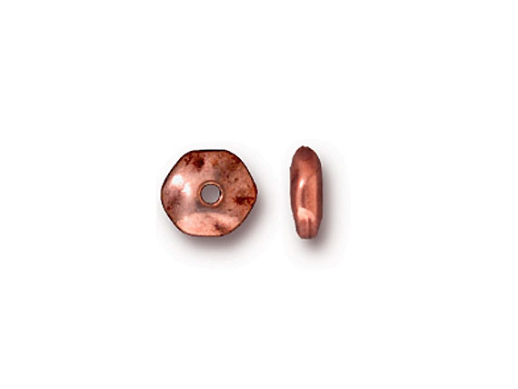50 - TierraCast Pewter Bead Round Hammered Edge Spacer, Antique Copper Plated
