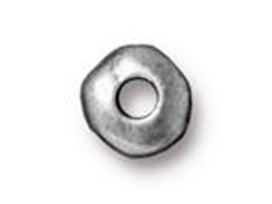 50 - TierraCast Pewter 7mm Bead Round Hammered Edge Spacer, Antique Pewter Plated