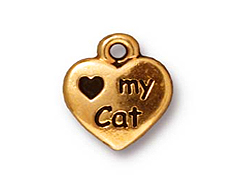 10 - TierraCast Pewter DROP Love My Cat Antique Gold Plated