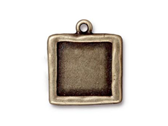 5 - TierraCast Pewter Oxidized Brass Plated Abstract Large Square Frame