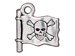 10 - TierraCast Pewter CHARM Jolly Roger Flag Antique Silver Plated