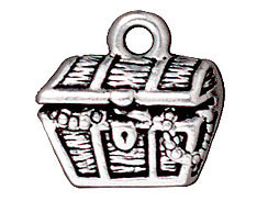 10 - TierraCast Pewter CHARM Treasure Chest Antique Silver Plated