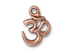 10 - TierraCast Pewter Pendant Om Ohm Antique Copper Plated