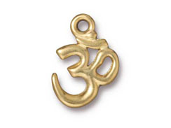 10 - TierraCast Pewter Pendant Om Ohm Bright Gold Plated