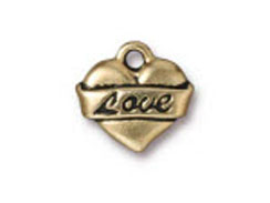 10 - TierraCast Pewter Charm Love Tattoo Heart Antique Gold Plated