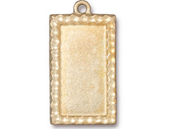 5 - TierraCast Pewter Pendant Rectangle Frame Bright Gold Plated