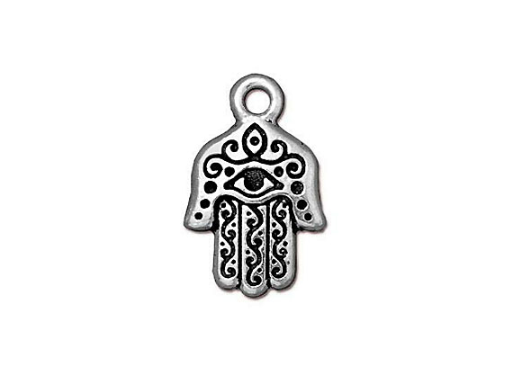 10 - TierraCast Pewter CHARM Hamsa Antique Silver Plated