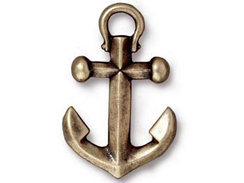 5 - TierraCast Pewter  Oxidized Brass Anchor Pendant