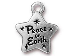 10 - Tierracast Antique Silver Plated Peace Star Pewter Charm
