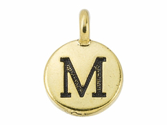 TierraCast Pewter Alphabet Charm Antique Gold Plated -  M