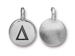 TierraCast Pewter Alphabet Charm Antique Silver Plated -  Delta