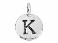 TierraCast Pewter Alphabet Charm Antique Silver Plated -  Kappa