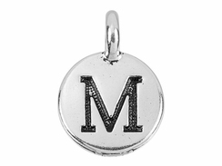 TierraCast Pewter Alphabet Charm Antique Silver Plated -  Mu