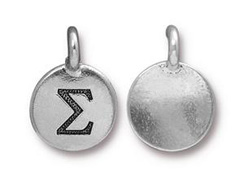 TierraCast Pewter Alphabet Charm Antique Silver Plated -  Sigma