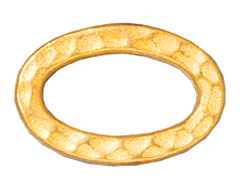 20 - TierraCast Pewter LINK Oval Hammered Ring, Bright Gold Plated