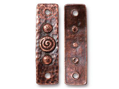 4 - TierraCast Antique Copper Plated Pewter Spiral and Rivets Link
