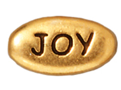 20 - TierraCast Pewter JOY Message Bead, Antique Gold Plated