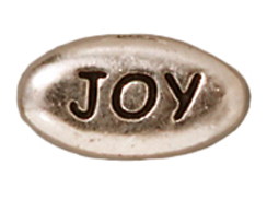 20 - TierraCast Pewter JOY Message Bead, Antique Rhodium Plated