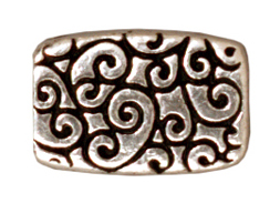 20 - TierraCast Pewter BEAD Rectangle Scroll, Antique Silver Plated