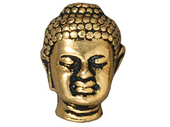10 - TierraCast Pewter BEAD Large Hole Buddha Head, Antique Gold Plated