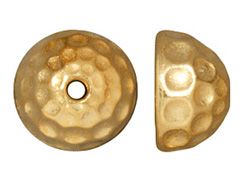 BEAD CAP-9.2mm &#34Hammertone&#34 (Bright Gold Plated)