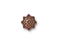 20 - TierraCast Pewter BEAD CAP Talavera Star, Antique Copper Plated