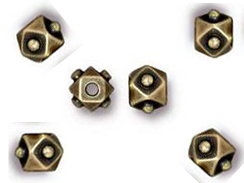 20 - TierraCast Pewter BEAD Faceted Cube Oxidized Brass