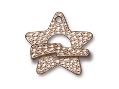 5 - TierraCast Pewter CLASP Hammered Star Toggle Set, Bright Rhodium Plated