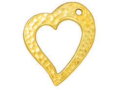 10 - TierraCast Pewter Floating Heart Charm Bright Gold Plated