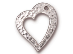 Tierracast Pewter Floating Heart Charm Rhodium Plated