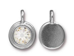Crystal - TierraCast Bright Rhodium Plated Pewter Stepped Bezel Charm with Swarovski Stone, April Birthstone