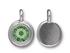 Peridot - TierraCast Bright Rhodium Plated Pewter Stepped Bezel Charm with Swarovski Stone, August Birthstone