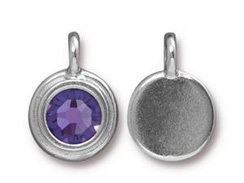 Tanzanite - TierraCast Bright Rhodium Plated Pewter Stepped Bezel Charm with Swarovski Stone, Decemeber Birthstone