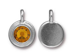 Topaz - TierraCast Bright Rhodium Plated Pewter Stepped Bezel Charm with Swarovski Stone, November Birthstone