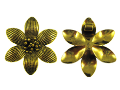 50mm Bright Gold Plated Flower Pewter Pendant