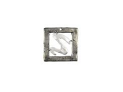 Small Framed Swirl Square Pewter Pendant