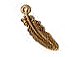 10 - TierraCast Pewter CHARM  Small Feather  Antique Gold Plated