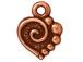 20 - TierraCast Pewter CHARM Spiral Heart, Antique Copper Plated