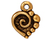 20 - TierraCast Pewter CHARM Spiral Heart, Antique Gold Plated