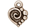 20 - TierraCast Pewter CHARM Spiral Heart, Antique Silver Plated