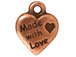 20 - TierraCast Pewter CHARM Made with Love Heart, Antique Copper Plated