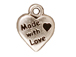 20 - TierraCast Pewter CHARM Made with Love Heart, Antique Silver Plated