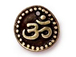 20 - TierraCast Pewter DROP Aum Ohm Om Oxidized Brass