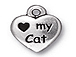 10 - TierraCast Pewter DROP Love My Cat Antique Silver Plated