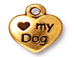 10 - TierraCast Pewter DROP Love My Dog Antique Gold Plated