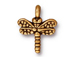 20 - TierraCast Pewter DROP Small Dragonfly Antique Gold Plated