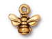 10 - TierraCast Pewter CHARM Small Honey Bee Antique Gold Plated