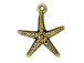 10 - TierraCast Pewter CHARM Starfish, Antique Gold Plated